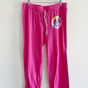 Joe Boxer pink peace sign pajama pants